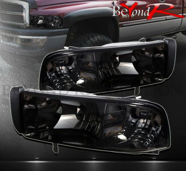 For 1994-2001 Dodge Ram 1500 2500 1Pc Headlights Smoked Lens Clear Reflectors