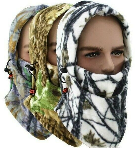 Fleece winter warm bike riding camo face masks Tactical hood scarf outdoor sport $6.00