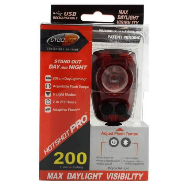 NEW Brightest Cygolite Hotshot PRO 200 Rear Bike Tail Light USB Rechrg upgrd 150 $35.95