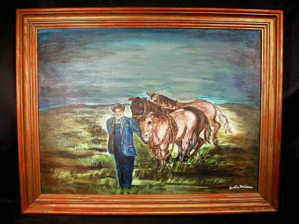 A Man and His Favorite Horses Primitive Oil Painting Signed on Canvas Panel
