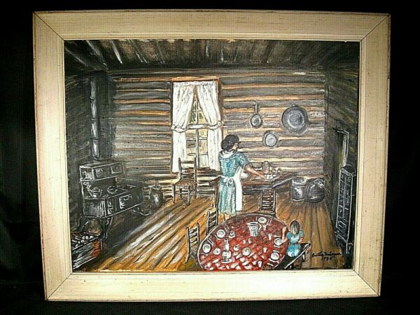 Mother with Daughter Cooking In the Kitchen Primitive Oil Painting Canvas Signed