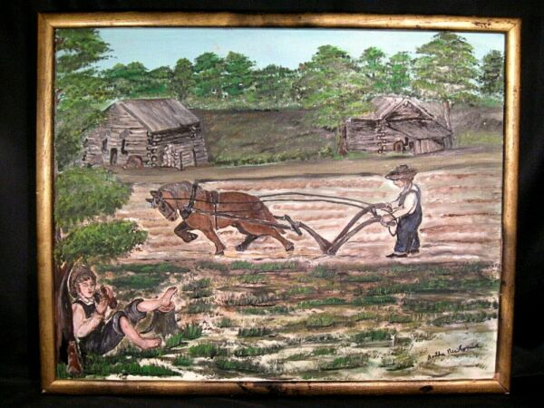 Working On the Farm Primitive Oil Painting on Canvas Signed