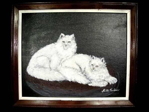 Pair of Angora Cats Pimitive Oil Painting on Canvas Panel Signed
