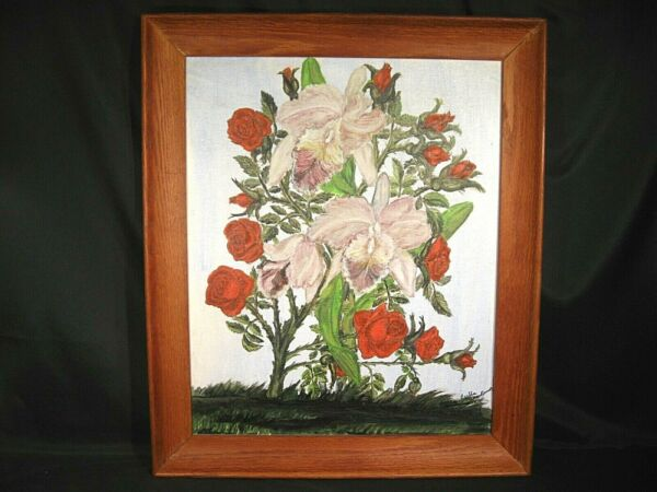 Roses and Orchids Primitive Oil Painting on Canvas Panel Signed