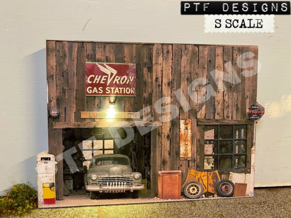 S Scale GAS STATION Building Flat wLED - Scratch Built - Lionel American Flyer $14.99