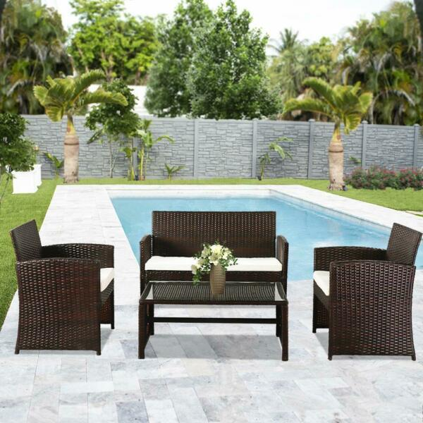 4PCS Patio Outdoor Furniture Set Rattan Garden Seating Wicker Chair with Cushion $179.95