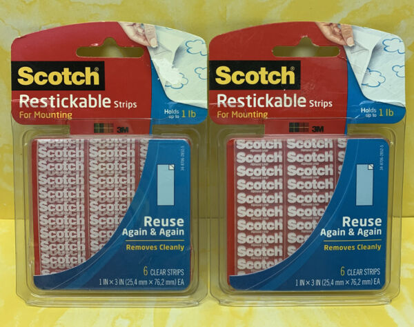 Lot Of 2 Scotch Restickable Mounting Strips 1 x 3 Inches Clear 2 Packs of 6