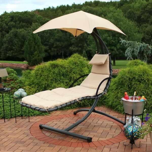 Sunnydaze Hanging Floating Patio Chaise Lounger Chair with Canopy - Beige - 79