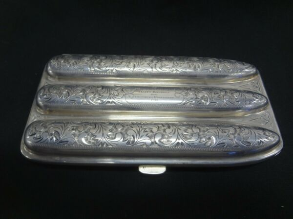 SILVER CIGAR CASE FROM F.D.R. TO CHURCHILL FOR BIRTHDAY VERY RARE FIND!!!!!