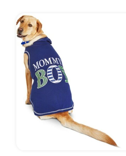WAG A TUDE Blue quot;MOMMY#x27;S BOYquot; FLEECE HOODIE Puppy Dog XLARGE $19.50