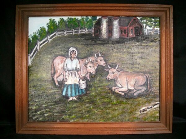 Three Cows and a Lady Primitive Oil Painting on Canvas Panel Signed