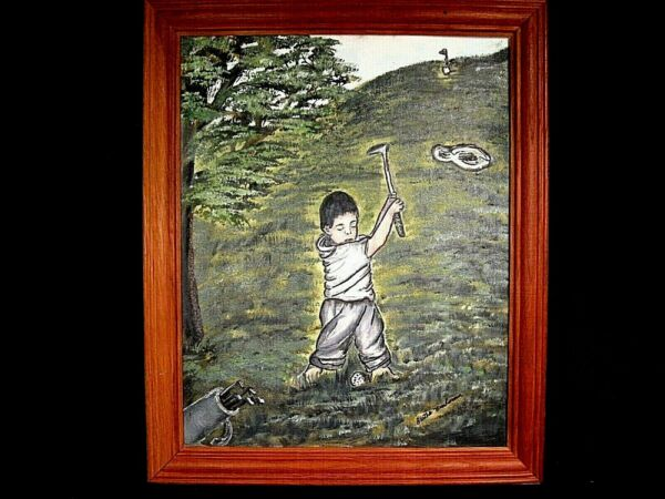 Learning To Play Golf Primitive Oil Painting on Canvas Panel Signed