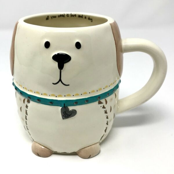 NEW Dog Shaped Novelty Coffee Mug quot;All You Need Is Love And A Dogquot; Natural Life $11.95