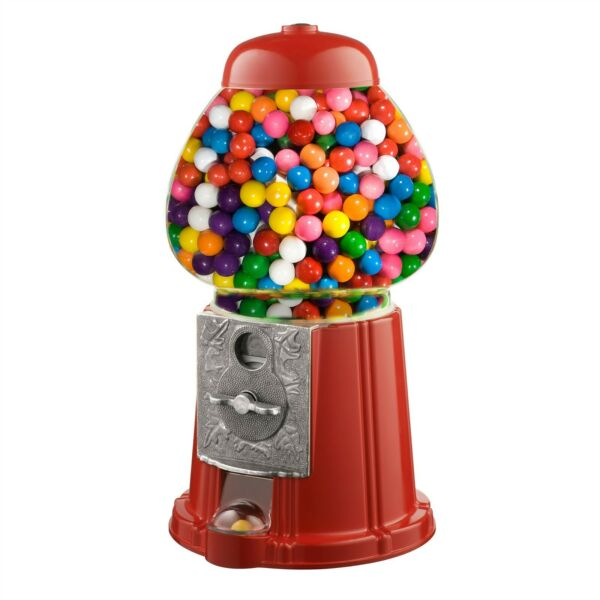 15quot; Vintage Candy Gumball Machine Bank Old Fashioned Metal Glass Ball Bubblegum