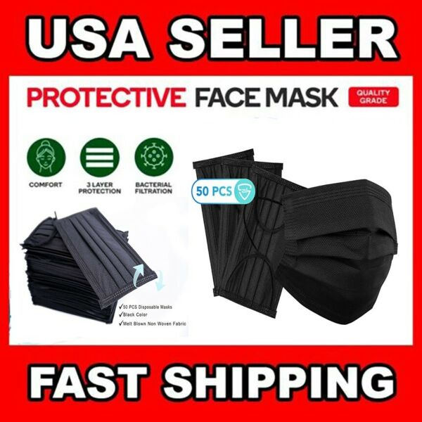 50 PC Face Mask Mouth & Nose Protector Protection Masks with Filter NEW $9.95