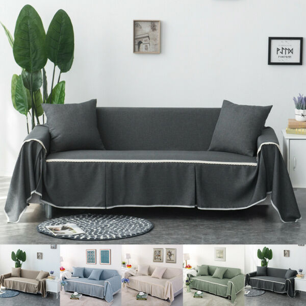 Cotton Blend Chair Sofa Cover Furniture Protector Throw Sofa Slip Covers 4 Size $18.99