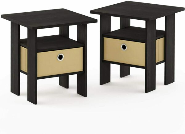 Furinno End Table Bedroom Night Stand, Espresso, Set of 2 (2-11157EX)