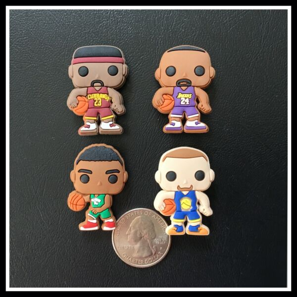 SET of 4 Shoe Charms for Crocs Basketball Players Curry Barkley James Bryant