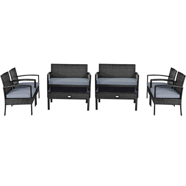 8PCS Outdoor Patio Rattan Furniture Set Cushioned Sofa Coffee Table Garden Deck $394.99