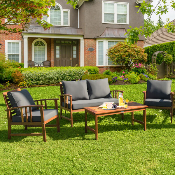 4PCS Wooden Patio Furniture Set Table Sofa Chair Cushioned Garden Outdoor $459.39
