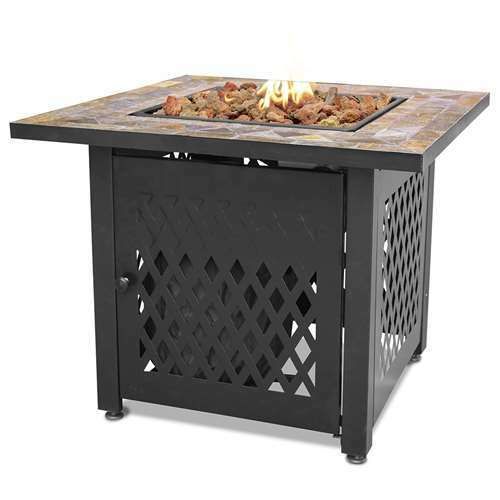 Endless Summer Decorative Slate Tile Mantel LP Gas Outdoor Fire Pit Open Box