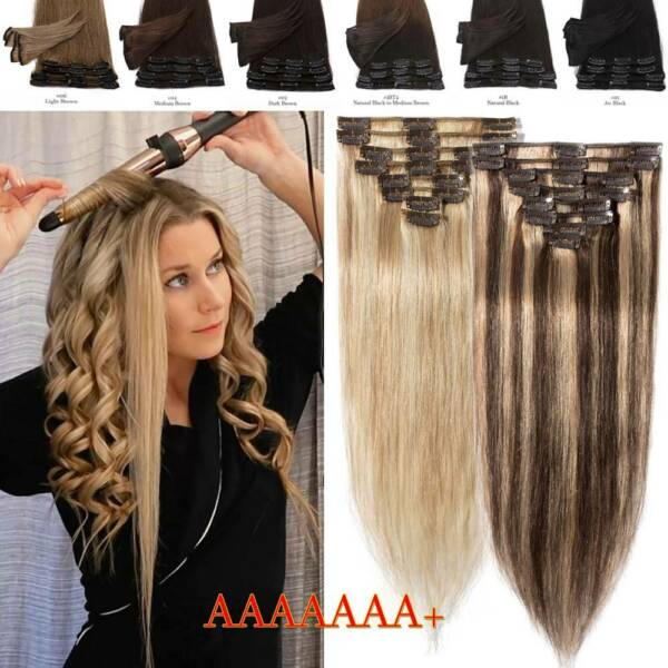 CLEARANCE Clip In 100% Real Remy Human Hair Extensions Balayage Ombre Full Head $18.52