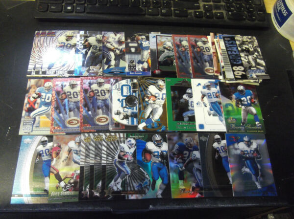 LOT OF (41) BARRY SANDERS CARDS W INSERTS PREMIUMS LIONS HALL OF FAMER