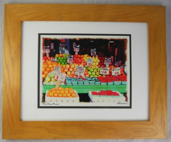 Seattle Pike Place Produce Art Print Signed by R Widman Matted Oak Frame