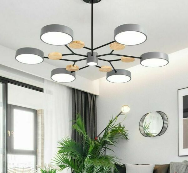 Chandelier Wooden Light Living Room Modern And Durable Iron Lustres Lighting New