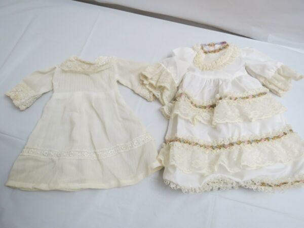 2 VINTAGE DRESSES CLOTHING FOR PORCELAIN DOLLS METAL CLOSURE 10 TO 12 INCHES