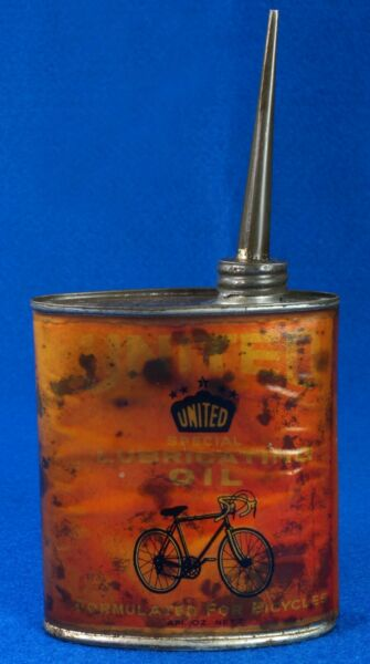 Vintage United Lubricating Oil For Bicycles Tin Can Paper Label 4oz