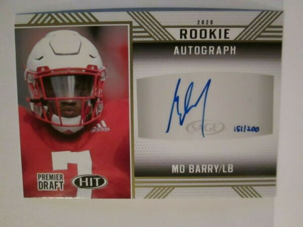 2020 SAGE HIT MO BARRY AUTO 151200 ROOKIE CARD. NICE..