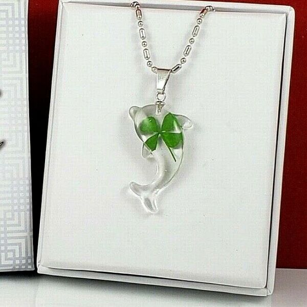 Real Four Leaf Clover Necklace Irish lucky charm pendant Dolphin Shape