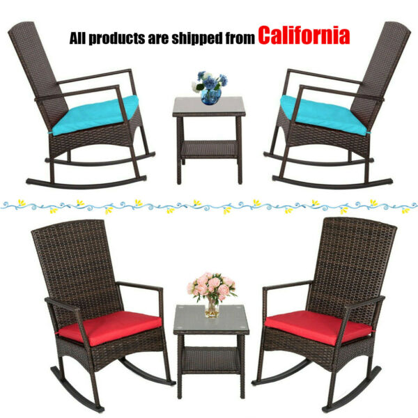 3PCS Rattan Wicker Cushioned Lounge Rocking Chair w Table Outdoor Furniture Set $179.99
