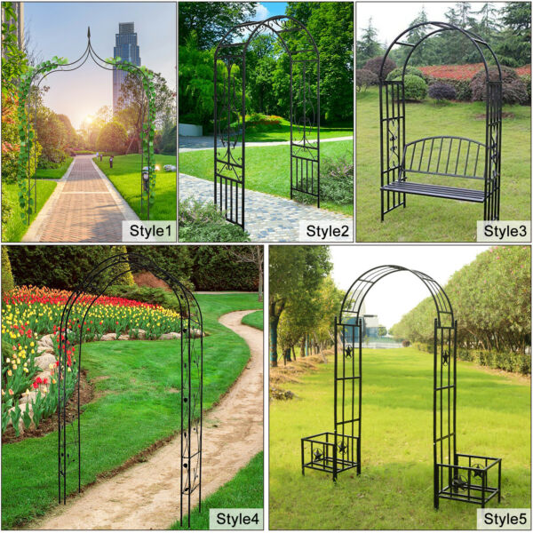 Outdoor Metal Garden Arch Trellis Various Archway for Flowers Climbing Plants