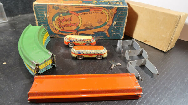 Automatic Toy Company Spiral Speedway Tin Key Wind Up $125.00