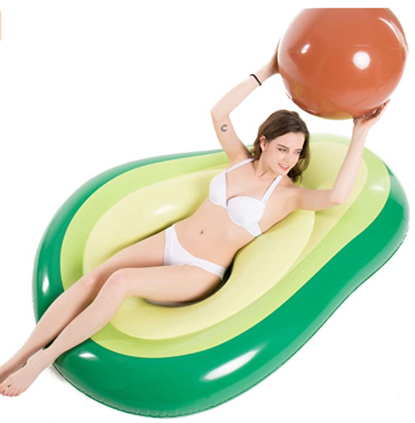 Avocado Pool Float with Beach Ball for Party Play Summer Beach Swimming Lounge $21.99