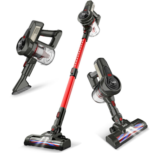 INSE Cordless Vacuum Cleaner 2 in 1 Stick Upright Compact Handheld Bagless Red