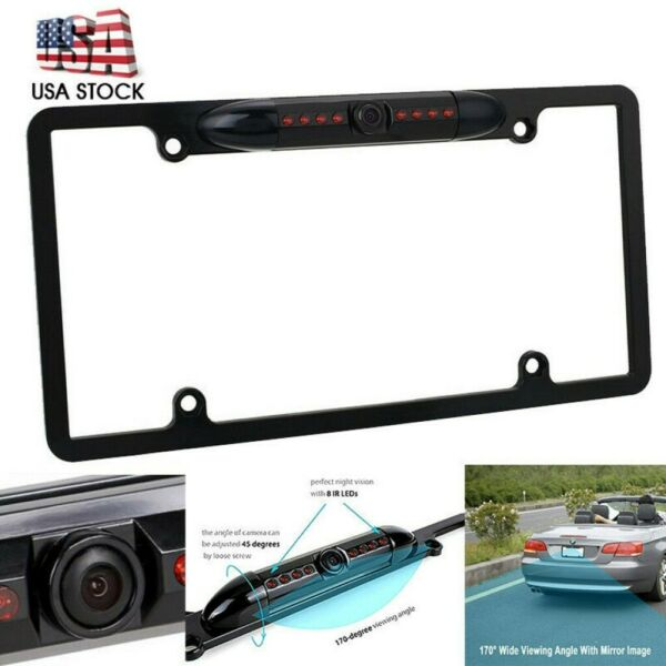 8 IR Night Vision Car Rear View Backup Camera US License Plate Frame CMOS Cam