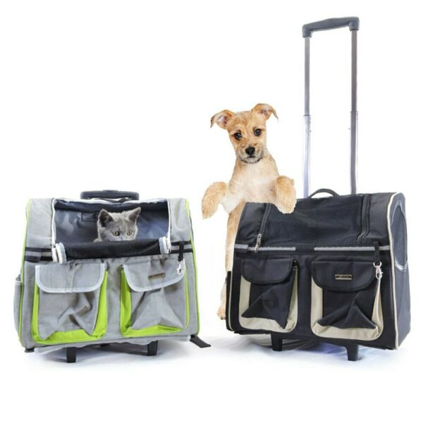 Pet Rolling Carrier Backpack Dogs Cats Wheel Trolley Luggage Bags Travel Handbag $145.99