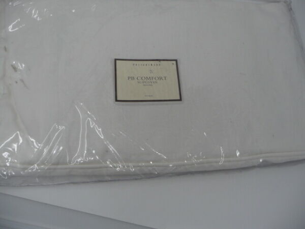 Pottery Barn Comfort Ottoman Slipcover Washed Linen Cotton White 24x30 $89.00