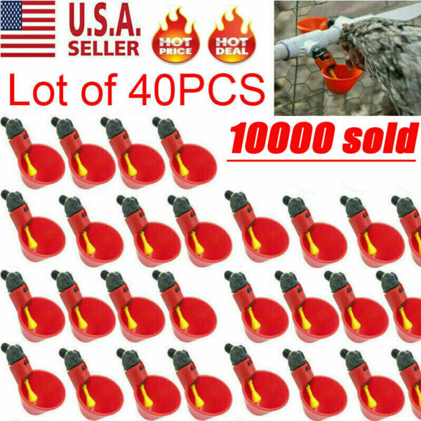 40 PACK Poultry Water Drinking Cups Chicken Hen Plastic Automatic Drinker USA $13.29