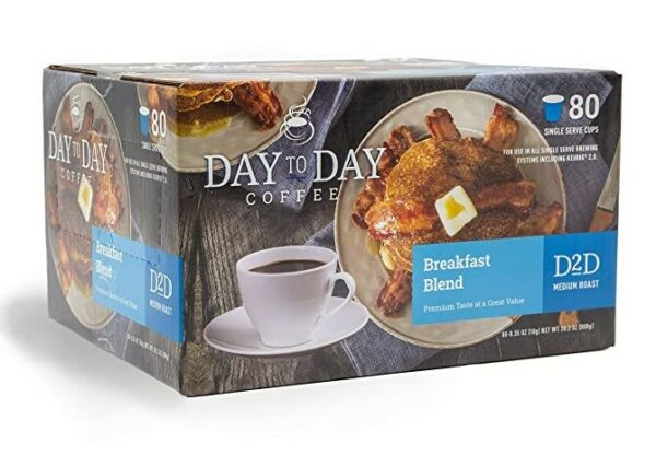 Day to Day Coffee Breakfast Blend Keurig cups 80 count New Fresh K Cups