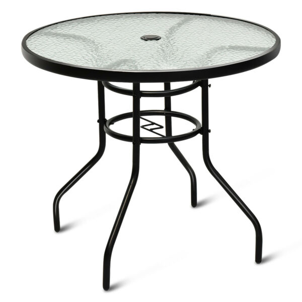 32quot; Patio Round Table Tempered Glass Steel Frame Outdoor Pool Yard Garden $75.99