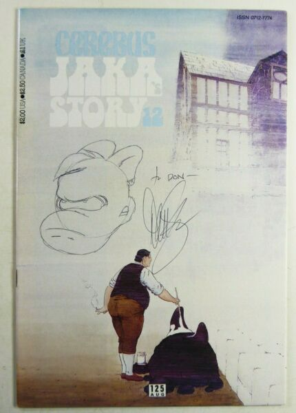 CEREBUS THE AARDVARK (1989) #125 SIGNED by Dave SIM wSKETCH VFNM Ships FREE!