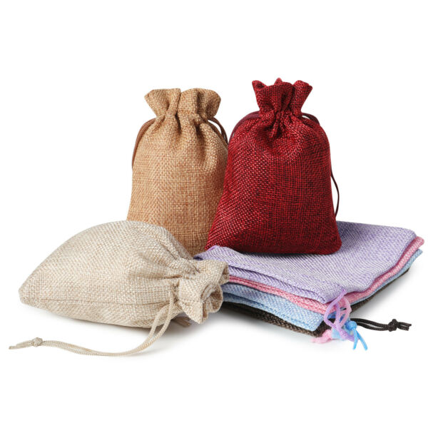25 50 100PCS Burlap Gift Bags Drawstring Bag Jewelry Pouches Wedding Party Favor