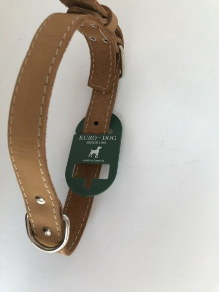 "Euro Dog Leather Collar 22"" Length $19.00"