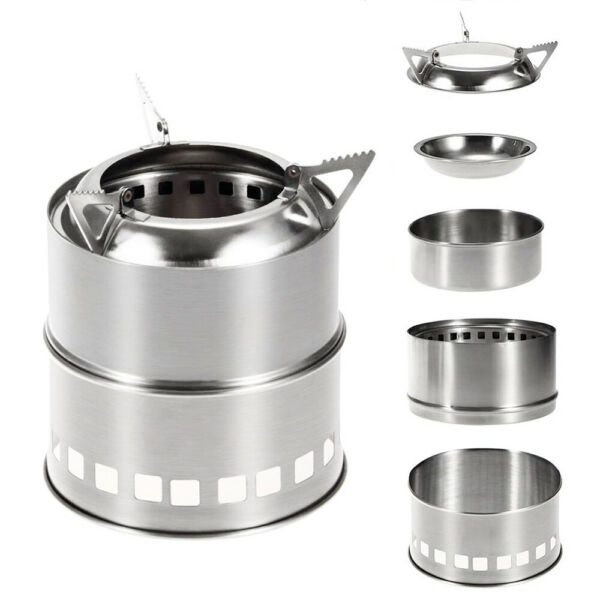 Outdoor Wood Burning Stove Backpacking Camping Stainless Steel w Alcohol Plate