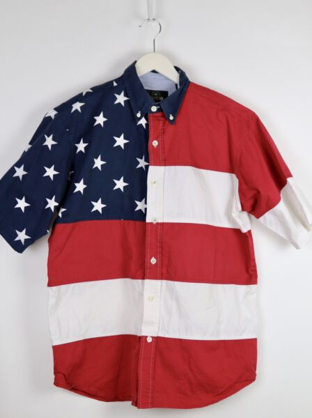 RedHead American Flag Short Sleeve Button Down Shirt Men's SIZE M Red White Blue