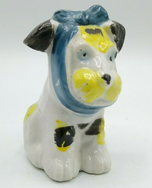 Occupied Japan Mutt Figurine 1940s Muggsy Toothache Dog Unique Dentist Gift $11.95